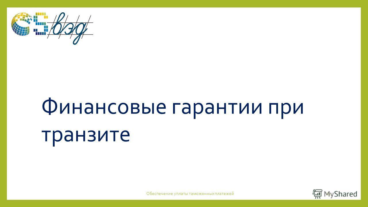 Обеспечение уплаты таможенных платежей22 Финансовые гарантии при транзите
