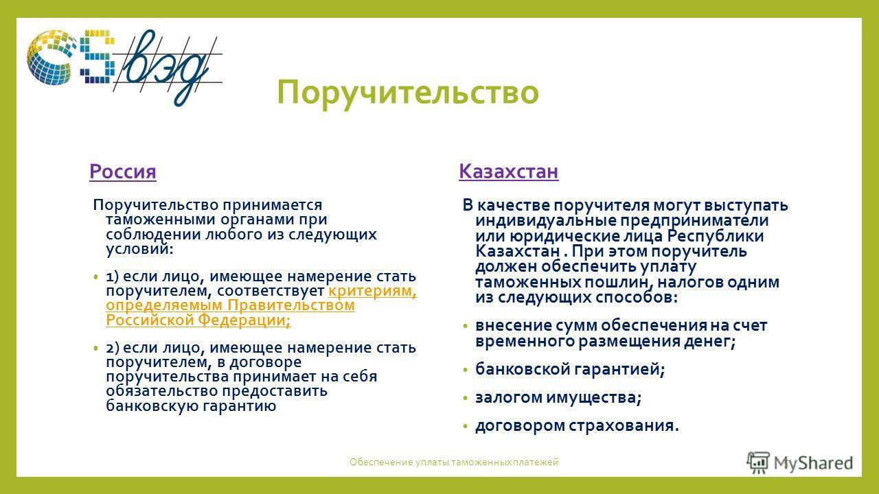 Поручительство Россия Поручительство принимается таможенными органами при соблюдении любого из следующих условий: 1) если лицо, имеющее намерение стать поручителем, соответствует критериям, определяемым Правительством Российской Федерации;критериям,