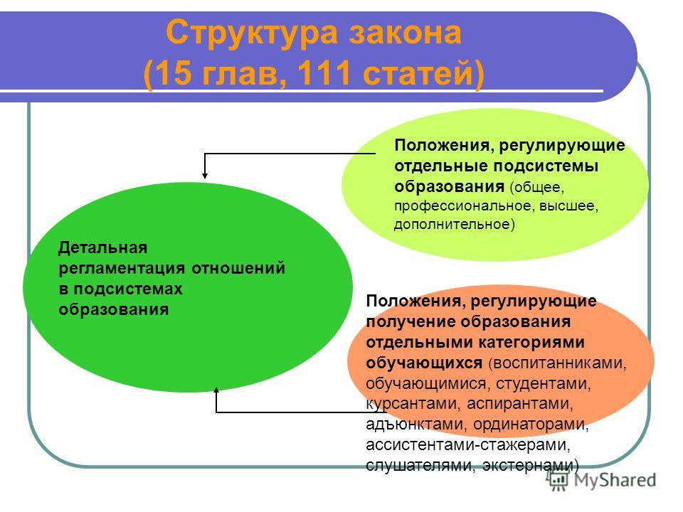Структура закона (15 глав, 111 статей) Детальная регламентация отношений в подсистемах образования Положения, регулирующие отдельные подсистемы образования (общее, профессиональное, высшее, дополнительное) Положения, регулирующие получение образовани