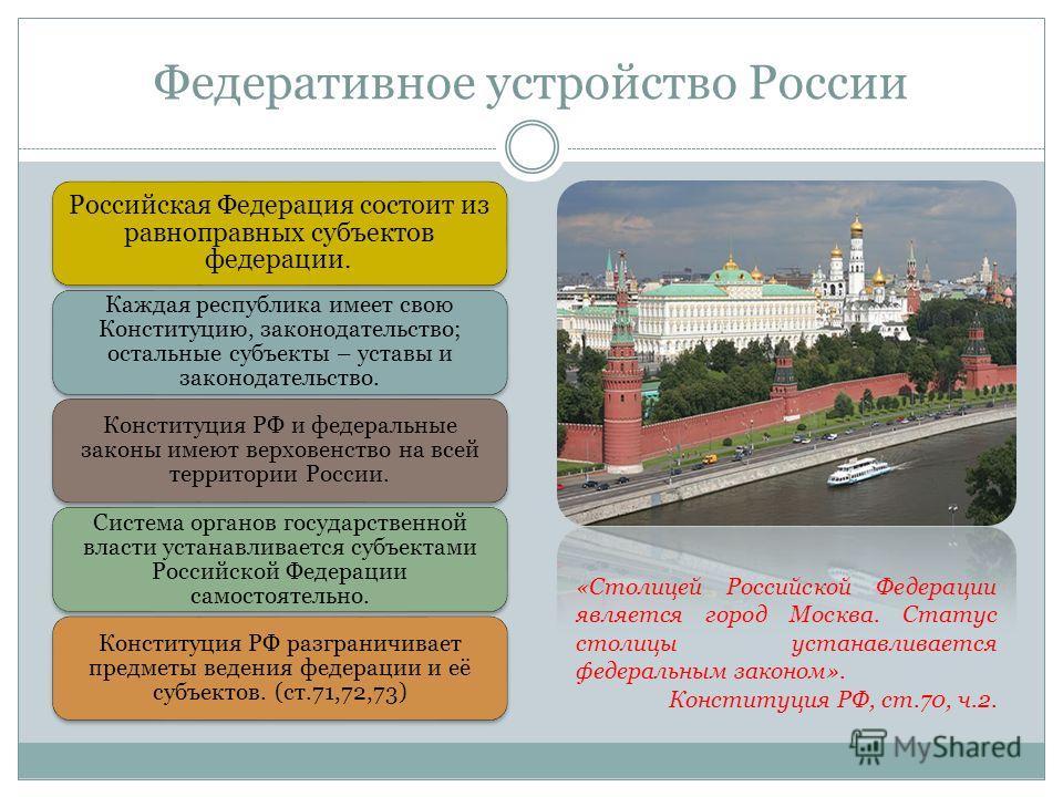 Федеративное устройство России Российская Федерация состоит из равноправных субъектов федерации. Каждая республика имеет свою Конституцию, законодательство; остальные субъекты – уставы и законодательство. Конституция РФ и федеральные законы имеют вер