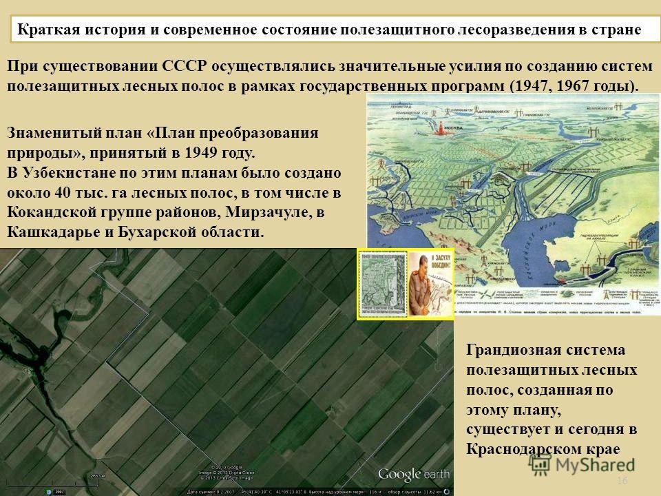 16 Краткая история и современное состояние полезащитного лесоразведения в стране При существовании СССР осуществлялись значительные усилия по созданию систем полезащитных лесных полос в рамках государственных программ (1947, 1967 годы ). Знаменитый п