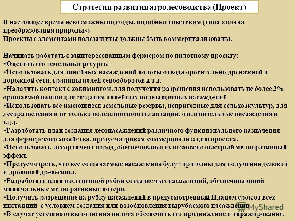 19 Стратегия развития агролесоводства (Проект) В настоящее время невозможны подходы, подобные советским ( типа « плана преобразования природы ») Проекты с элементами полезащиты должны быть коммерциализованы. Начинать работать с заинтересованным ферме