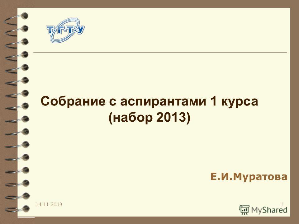 14.11.20131 Собрание с аспирантами 1 курса (набор 2013) Е.И.Муратова