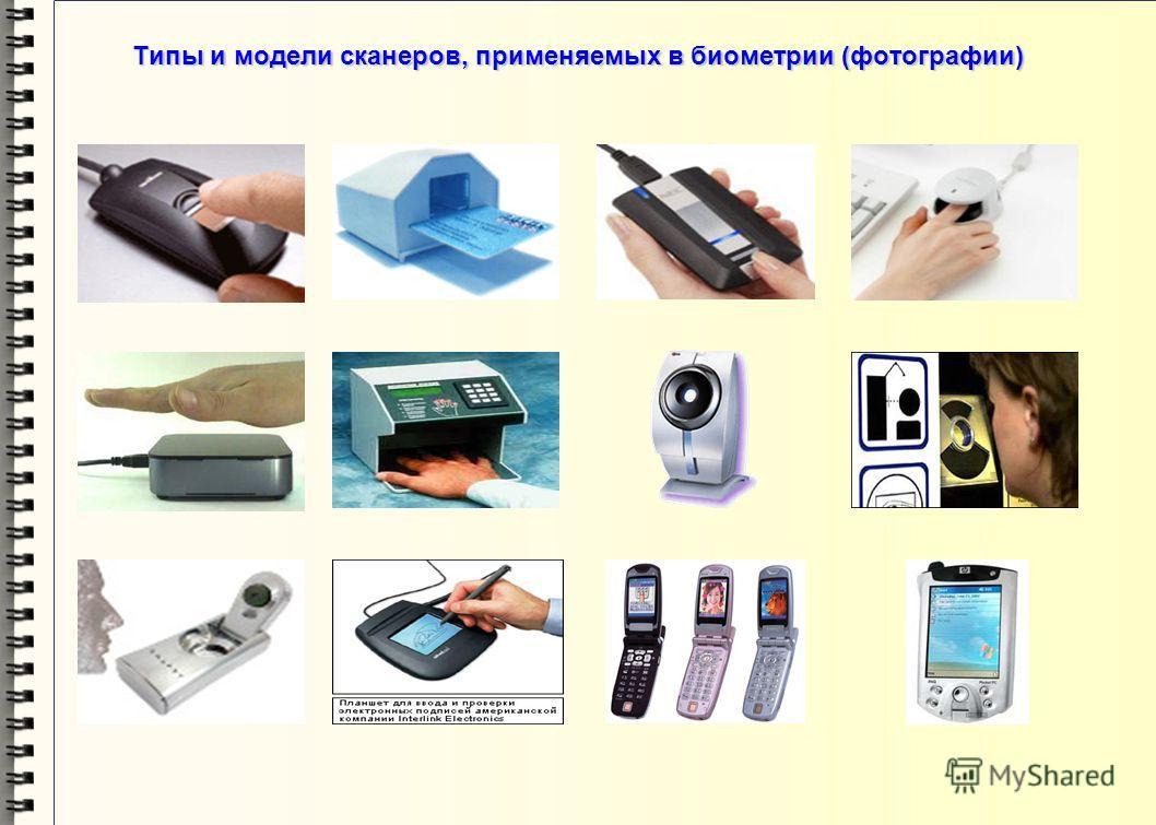 Типы и модели сканеров, применяемых в биометрии Оптический дактосканер – 1 Оптический дактосканер – 1 Оптико-волоконный дактосканер – 2 Оптико-волоконный дактосканер – 2 Протяжный дактосканер – 3 Протяжный дактосканер – 3 Сканер вен пальца руки – 4 С