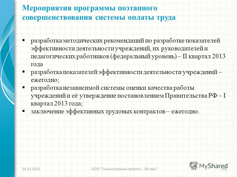 Мероприятия программы поэтапного совершенствования системы оплаты труда 14.11.2013ООО