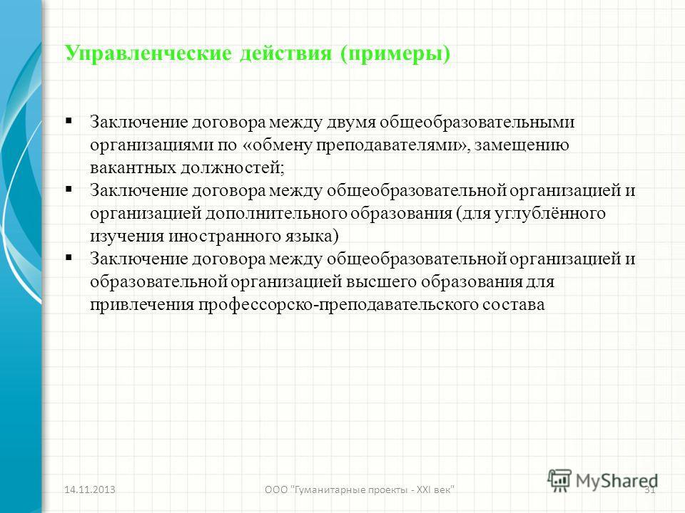 Управленческие действия (примеры) Заключение договора между двумя общеобразовательными организациями по «обмену преподавателями», замещению вакантных должностей; Заключение договора между общеобразовательной организацией и организацией дополнительног