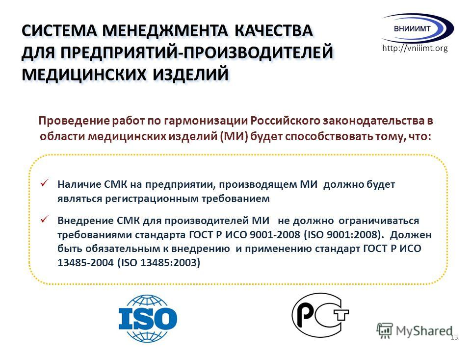 Проведение работ по гармонизации Российского законодательства в области медицинских изделий (МИ) будет способствовать тому, что: http://vniiimt.org СИСТЕМА МЕНЕДЖМЕНТА КАЧЕСТВА ДЛЯ ПРЕДПРИЯТИЙ-ПРОИЗВОДИТЕЛЕЙ МЕДИЦИНСКИХ ИЗДЕЛИЙ СИСТЕМА МЕНЕДЖМЕНТА КА