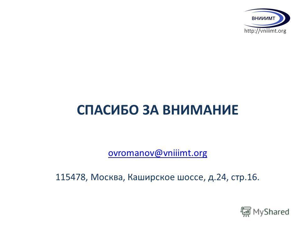 СПАСИБО ЗА ВНИМАНИЕ ovromanov@vniiimt.org 115478, Москва, Каширское шоссе, д.24, стр.16. http://vniiimt.org