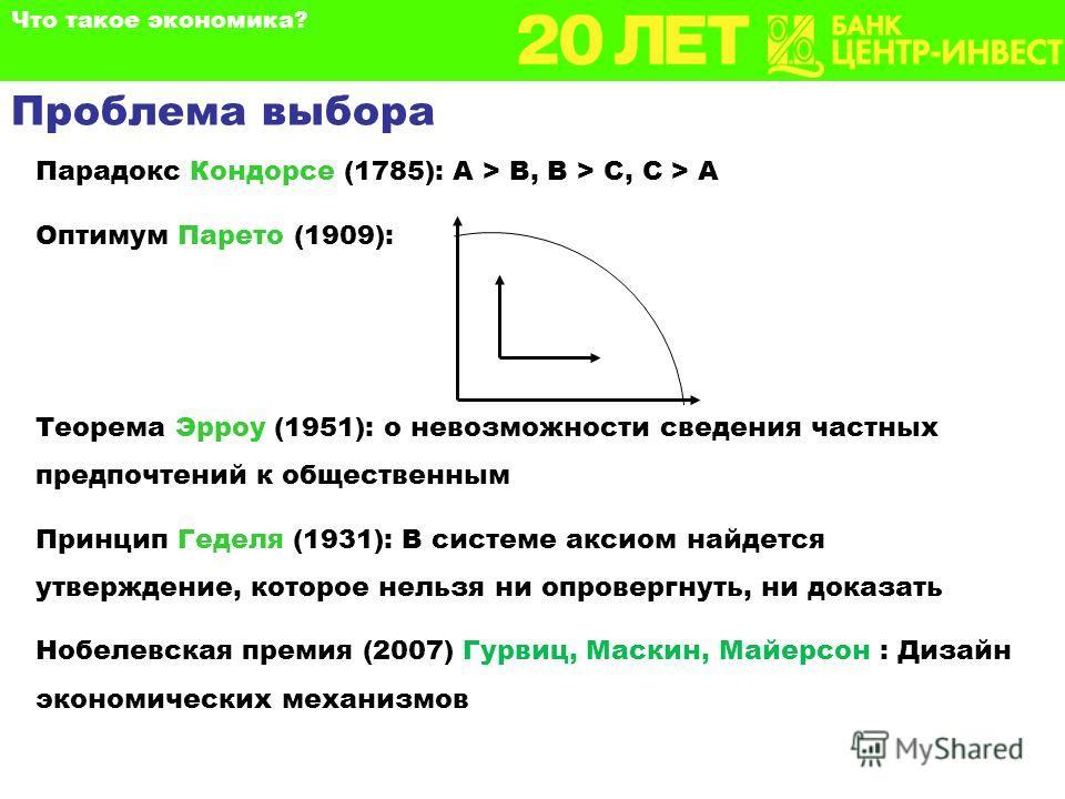 Парадокс Кондорсе (1785): А > В, В > С, С > А Оптимум Парето (1909): Теорема Эрроу (1951): о невозможности сведения частных предпочтений к общественным Принцип Геделя (1931): В системе аксиом найдется утверждение, которое нельзя ни опровергнуть, ни д