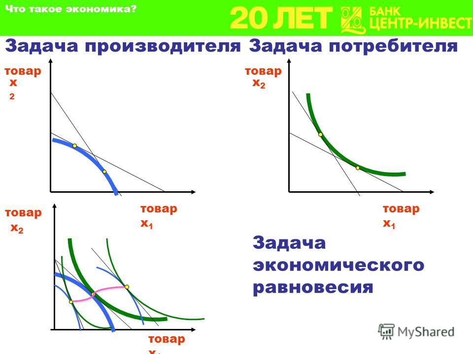 Задача производителя товар х2х2 Что такое экономика? Задача потребителя товар х 1 х2х2 товар товар х 1 Задача экономического равновесия товар х 1 товар х2х2