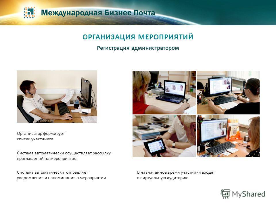 Система автоматически осуществляет рассылку приглашений на мероприятие Система автоматически отправляет уведомления и напоминания о мероприятии В назначенное время участники входят в виртуальную аудиторию Регистрация администратором ОРГАНИЗАЦИЯ МЕРОП