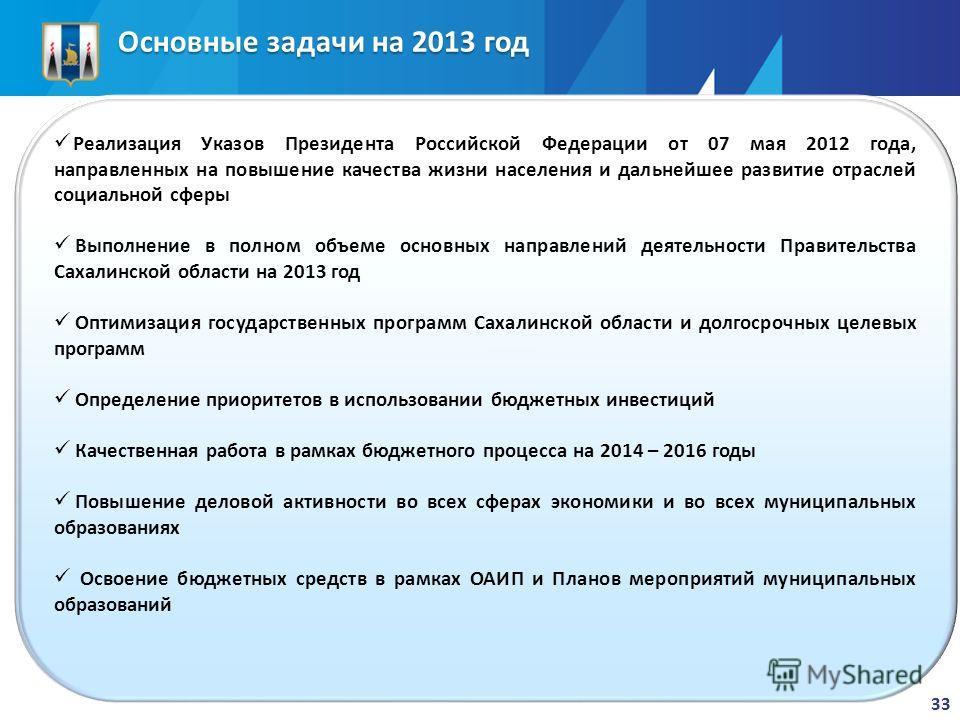 Основные задачи на 2013 год 33 Реализация Указов Президента Российской Федерации от 07 мая 2012 года, направленных на повышение качества жизни населения и дальнейшее развитие отраслей социальной сферы Выполнение в полном объеме основных направлений д