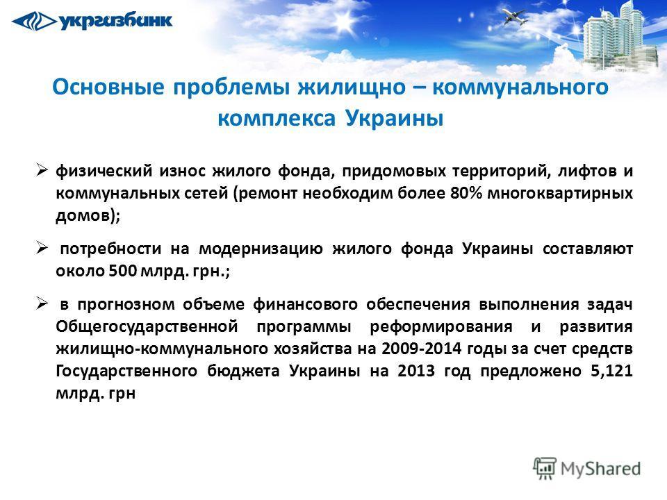 Основные проблемы жилищно – коммунального комплекса Украины физический износ жилого фонда, придомовых территорий, лифтов и коммунальных сетей (ремонт необходим более 80% многоквартирных домов); потребности на модернизацию жилого фонда Украины составл