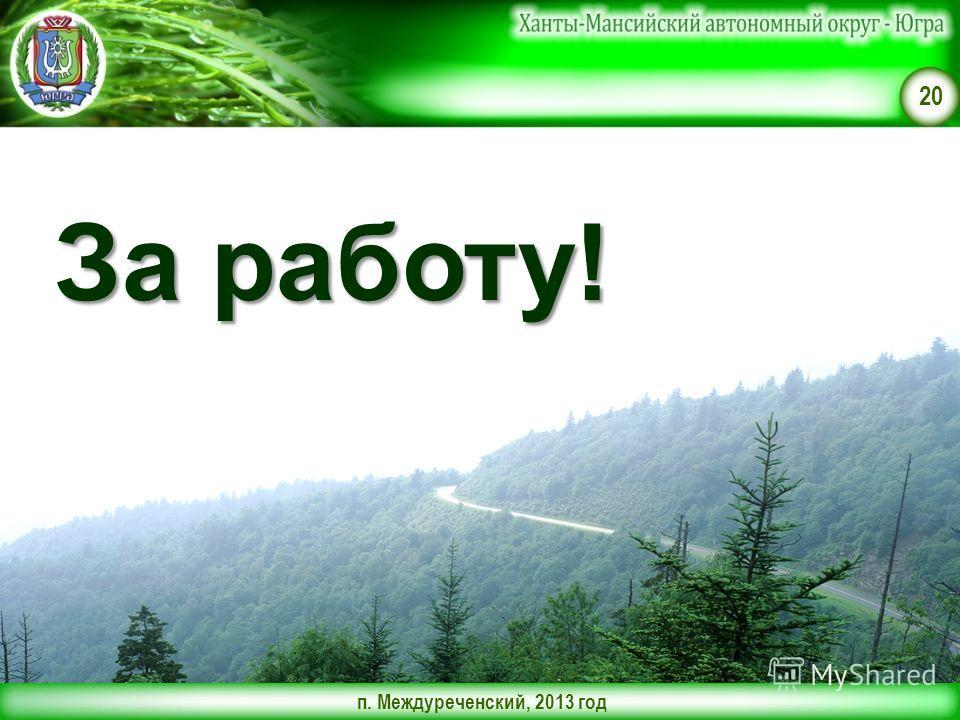 п. Междуреченский, 2013 год 20 За работу!