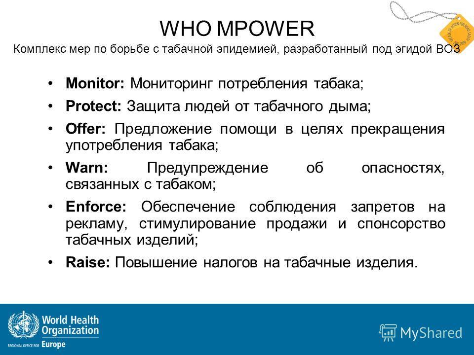 WHO MPOWER Комплекс мер по борьбе с табачной эпидемией, разработанный под эгидой ВОЗ Monitor: Мониторинг потребления табака; Protect: Защита людей от табачного дыма; Offer: Предложение помощи в целях прекращения употребления табака; Warn: Предупрежде