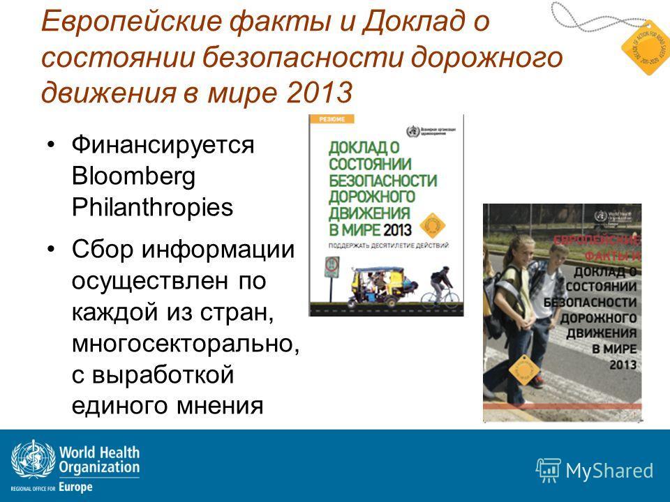 Европейские факты и Доклад о состоянии безопасности дорожного движения в мире 2013 Финансируется Bloomberg Philanthropies Сбор информации осуществлен по каждой из стран, многосекторально, с выработкой единого мнения