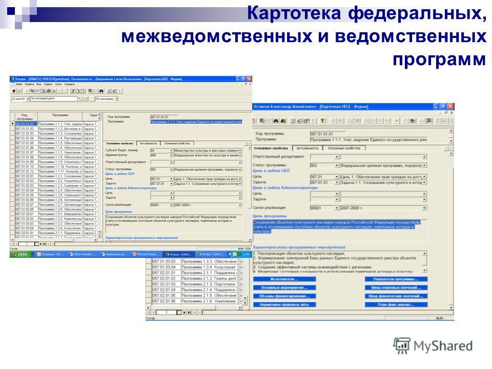 Картотека федеральных, межведомственных и ведомственных программ