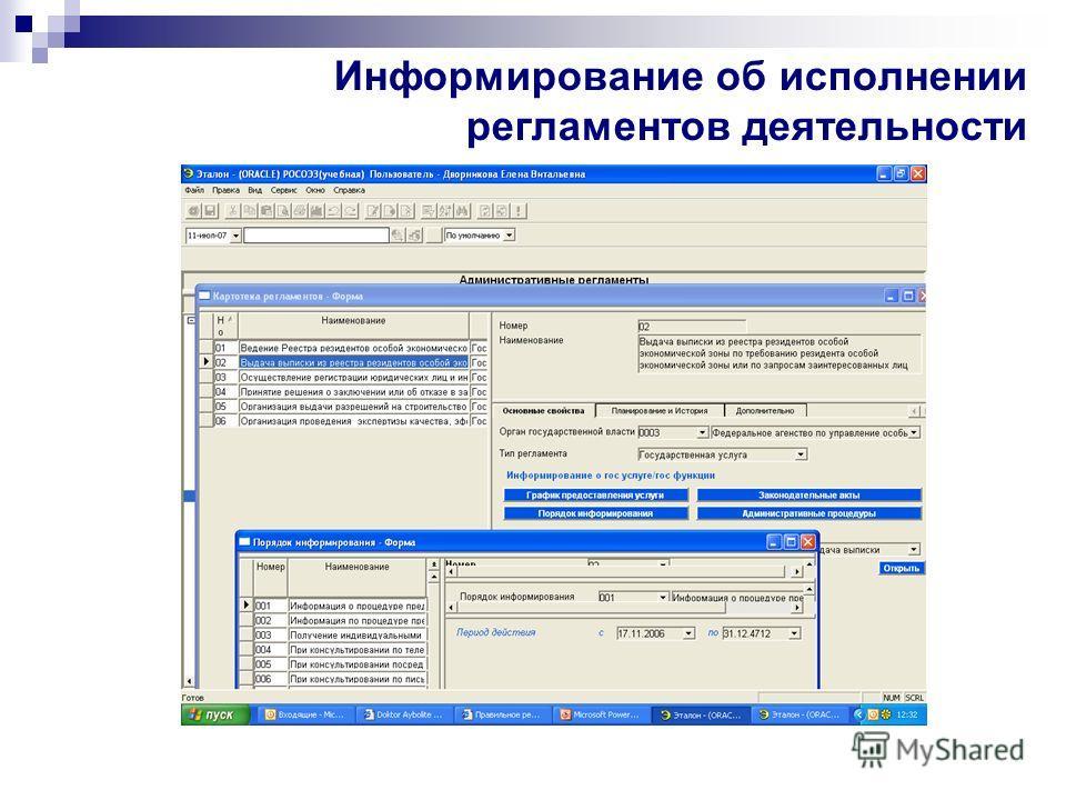 Информирование об исполнении регламентов деятельности