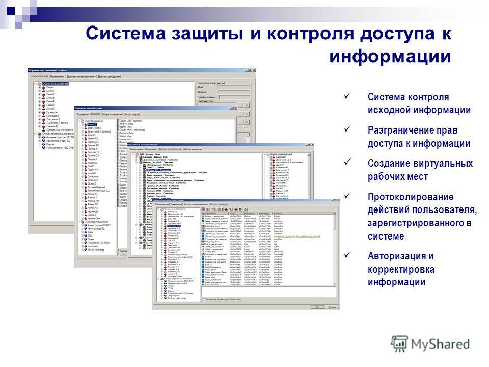 Система защиты и контроля доступа к информации Система контроля исходной информации Разграничение прав доступа к информации Создание виртуальных рабочих мест Протоколирование действий пользователя, зарегистрированного в системе Авторизация и корректи