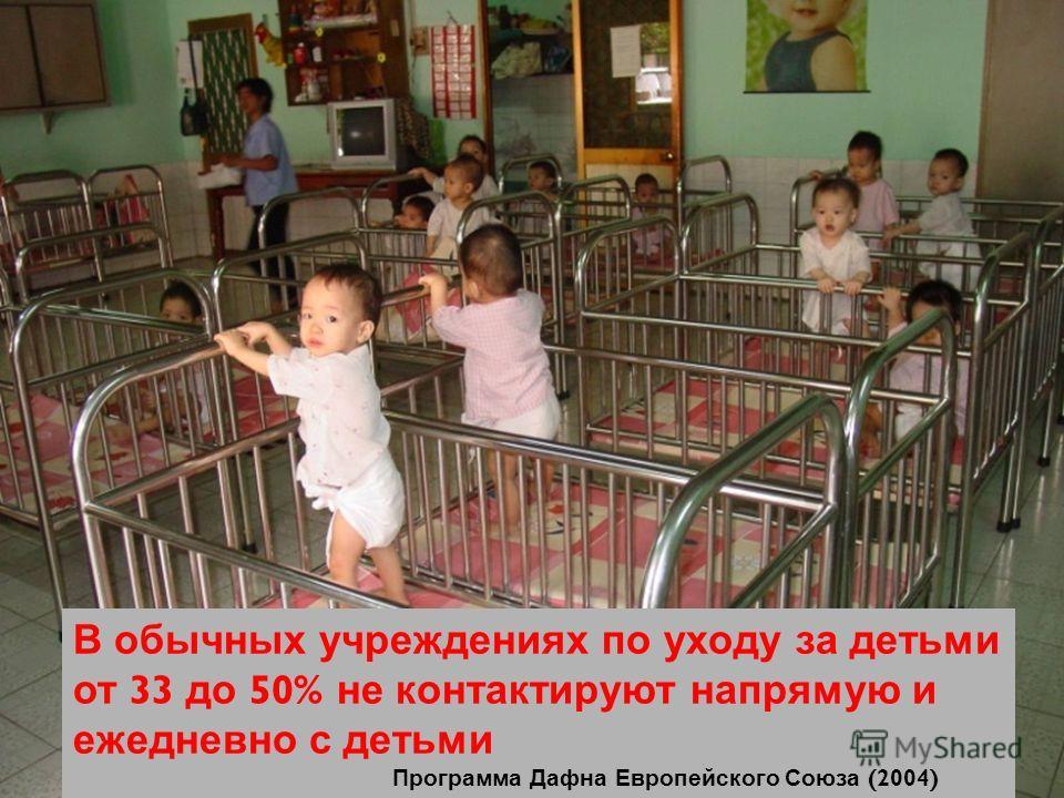STEP 5 Designing alternative services В обычных учреждениях по уходу за детьми от 33 до 50% не контактируют напрямую и ежедневно с детьми Программа Дафна Европейского Союза (2004)