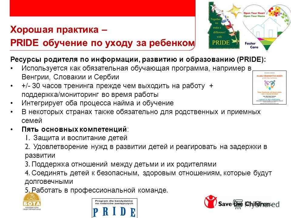 Хорошая практика – PRIDE обучение по уходу за ребенком Ресурсы родителя по информации, развитию и образованию (PRIDE): Используется как обязательная обучающая программа, например в Венгрии, Словакии и Сербии +/- 30 часов тренинга прежде чем выходить
