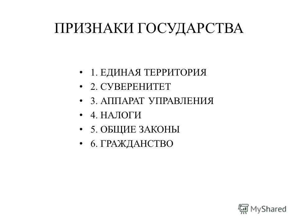 ПРИЗНАКИ ГОСУДАРСТВА 1. ЕДИНАЯ ТЕРРИТОРИЯ 2. СУВЕРЕНИТЕТ 3. АППАРАТ УПРАВЛЕНИЯ 4. НАЛОГИ 5. ОБЩИЕ ЗАКОНЫ 6. ГРАЖДАНСТВО