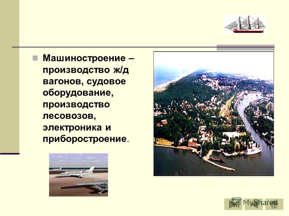 Машиностроение – производство ж/д вагонов, судовое оборудование, производство лесовозов, электроника и приборостроение.