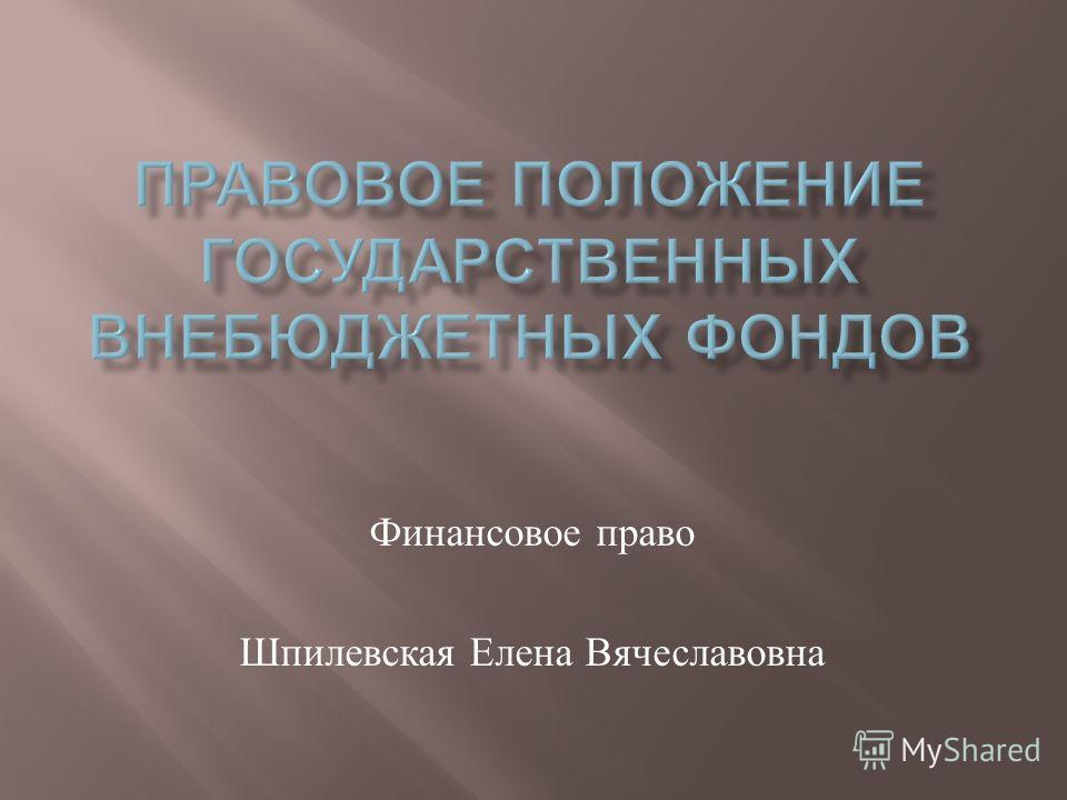 Финансовое право Шпилевская Елена Вячеславовна