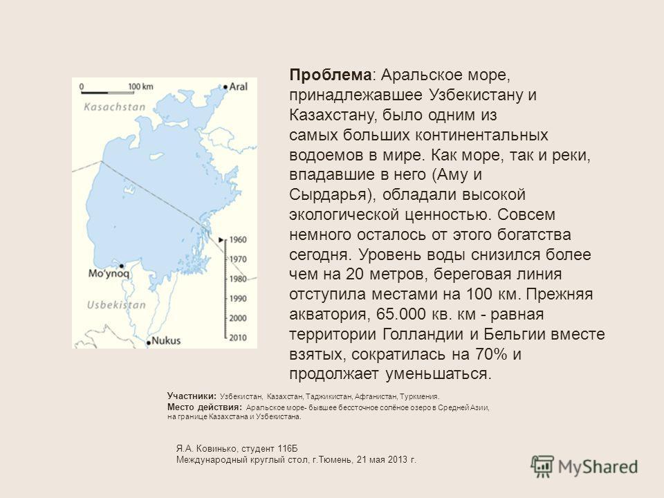 Проблема: Аральское море, принадлежавшее Узбекистану и Казахстану, было одним из самых больших континентальных водоемов в мире. Как море, так и реки, впадавшие в него (Аму и Сырдарья), обладали высокой экологической ценностью. Совсем немного осталось