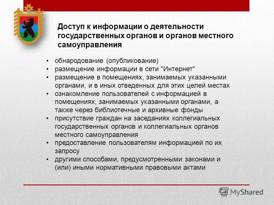 Доступ к информации о деятельности государственных органов и органов местного самоуправления обнародование (опубликование) размещение информации в сети