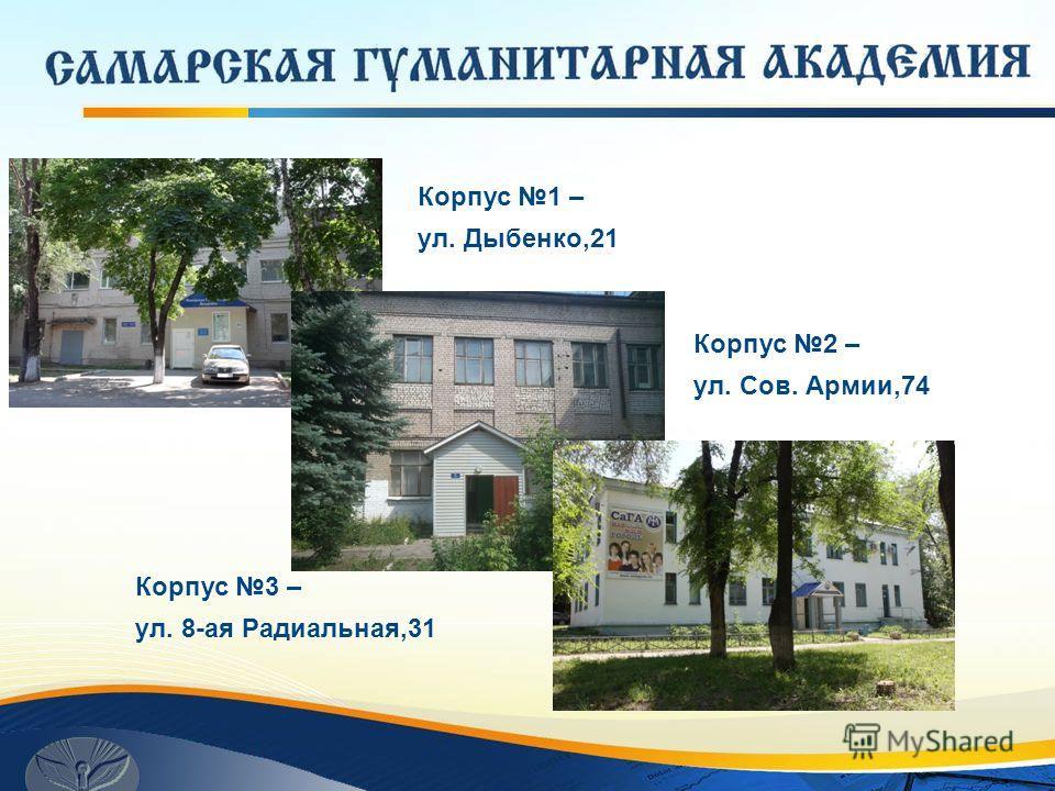Корпус 1 – ул. Дыбенко,21 Корпус 2 – ул. Сов. Армии,74 Корпус 3 – ул. 8-ая Радиальная,31