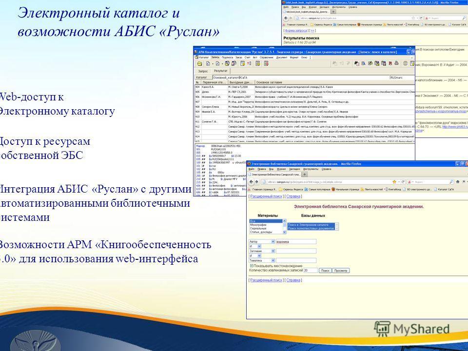 Электронный каталог и возможности АБИС «Руслан» Интеграция АБИС «Руслан» с другими автоматизированными библиотечными системами Web-доступ к Электронному каталогу Доступ к ресурсам собственной ЭБС Возможности АРМ «Книгообеспеченность 3.0» для использо