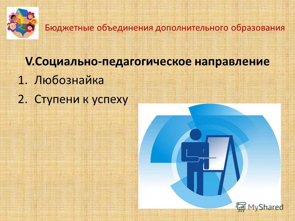 Бюджетные объединения дополнительного образования V.Социально-педагогическое направление 1.Любознайка 2.Ступени к успеху