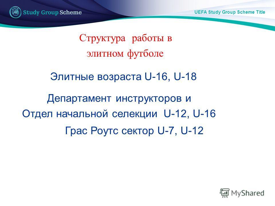 UEFA Study Group Scheme Title Структура работы в элитном футболе Грас Роутс сектор U-7, U-12 Департамент инструкторов и Отдел начальной селекции U-12, U-16 Элитные возраста U-16, U-18