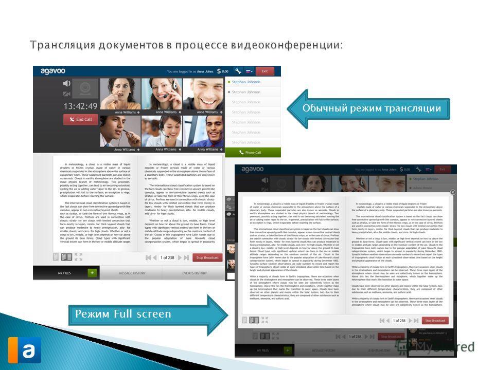 Обычный режим трансляции Режим Full screen