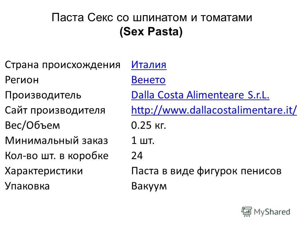 Страна происхожденияИталия РегионВенето ПроизводительDalla Costa Alimenteare S.r.L. Сайт производителяhttp://www.dallacostalimentare.it/ Вес/Объем0.25 кг. Минимальный заказ1 шт. Кол-во шт. в коробке24 ХарактеристикиПаста в виде фигурок пенисов Упаков