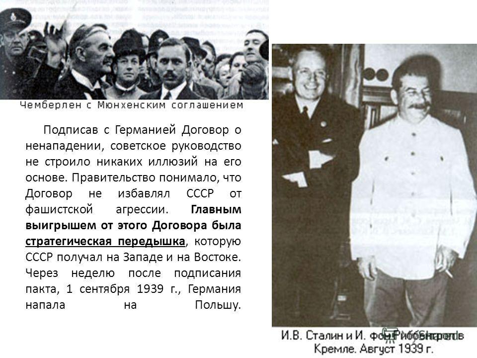 Подписав с Германией Договор о ненападении, советское руководство не строило никаких иллюзий на его основе. Правительство понимало, что Договор не избавлял СССР от фашистской агрессии. Главным выигрышем от этого Договора была стратегическая передышка