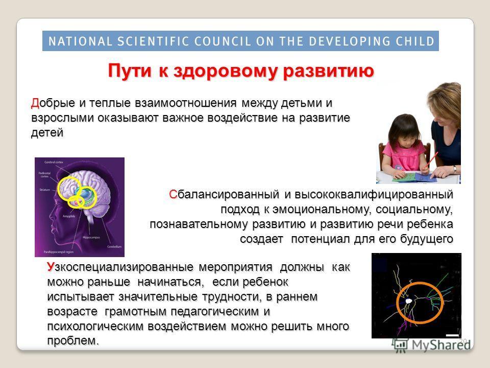 Пути к здоровому развитию Добрые и теплые взаимоотношения между детьми и взрослыми оказывают важное воздействие на развитие детей Узкоспециализированные мероприятия должны как можно раньше начинаться, если ребенок испытывает значительные трудности, в