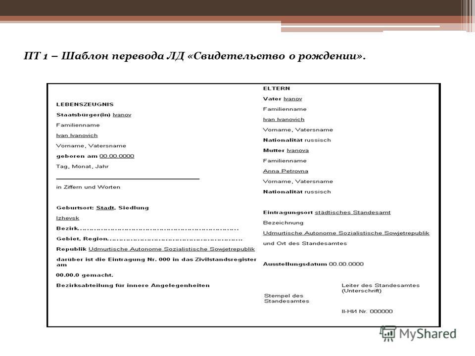 Перейдем теперь к шаблонам, которые предлагаются для перевода ЛД «Свидетельство о рождении», например, на сайте переводческого бюро «Альба» [БП «Альба» URL].
