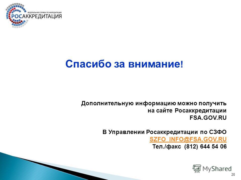 Дополнительную информацию можно получить на сайте Росаккредитации FSA.GOV.RU В Управлении Росаккредитации по СЗФО SZFO_INFO@FSA.GOV.RU Тел./факс (812) 644 54 06 20 Спасибо за внимание !