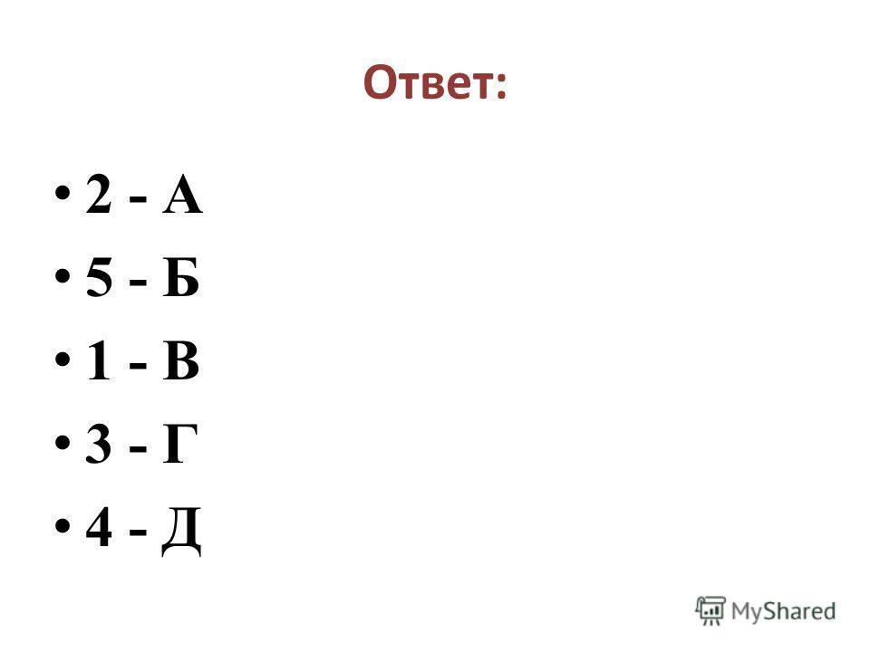 Ответ: 2 - А 5 - Б 1 - В 3 - Г 4 - Д