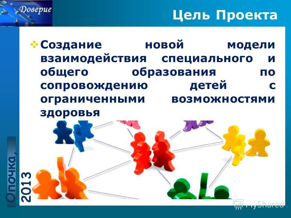 www.themegallery.com Цель Проекта Создание новой модели взаимодействия специального и общего образования по сопровождению детей с ограниченными возможностями здоровья Опочка, 2013