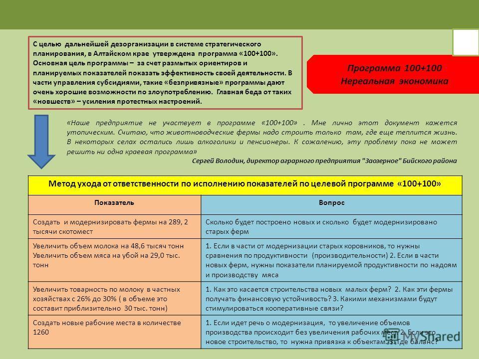 Программа 100+100 Нереальная экономика С целью дальнейшей дезорганизации в системе стратегического планирования, в Алтайском крае утверждена программа «100+100». Основная цель программы – за счет размытых ориентиров и планируемых показателей показать