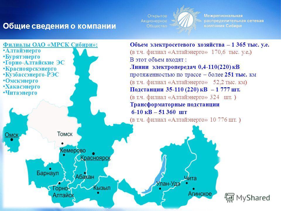 Общие сведения о компании Объем электросетевого хозяйства – 1 365 тыс. у.е. (в т.ч. филиал «Алтайэнерго» 170,6 тыс. у.е.) В этот объем входят : Линии электропередач 0,4-110(220) кВ протяженностью по трассе – более 251 тыс. км (в т.ч. филиал «Алтайэне
