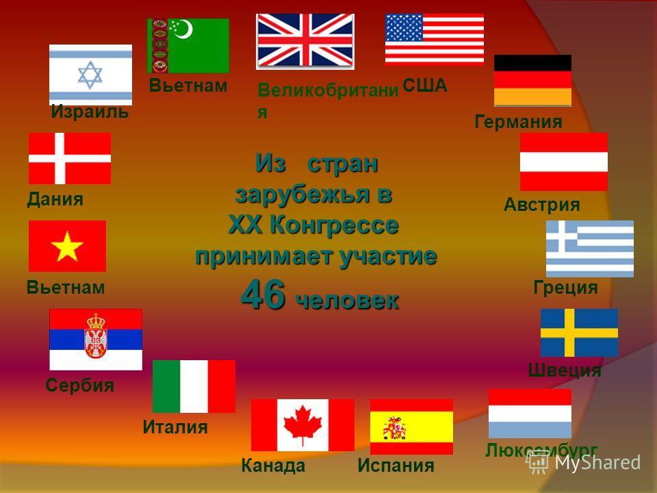 Из стран зарубежья в XX Конгрессе принимает участие 46 человек Израиль Великобритани я США Люксембург Дания Сербия Испания Италия Греция Германия Вьетнам Австрия Канада Вьетнам Швеция