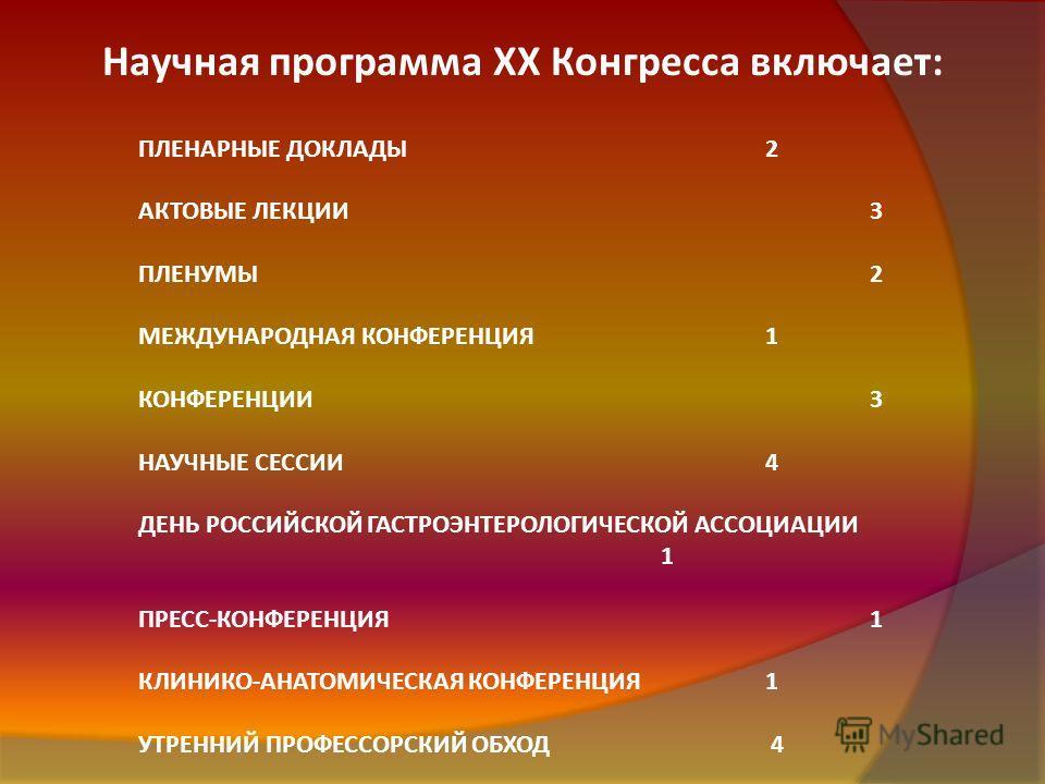 Научная программа XX Конгресса включает: ПЛЕНАРНЫЕ ДОКЛАДЫ2 АКТОВЫЕ ЛЕКЦИИ3 ПЛЕНУМЫ2 МЕЖДУНАРОДНАЯ КОНФЕРЕНЦИЯ1 КОНФЕРЕНЦИИ3 НАУЧНЫЕ СЕССИИ4 ДЕНЬ РОССИЙСКОЙ ГАСТРОЭНТЕРОЛОГИЧЕСКОЙ АССОЦИАЦИИ 1 ПРЕСС-КОНФЕРЕНЦИЯ1 КЛИНИКО-АНАТОМИЧЕСКАЯ КОНФЕРЕНЦИЯ1 УТР