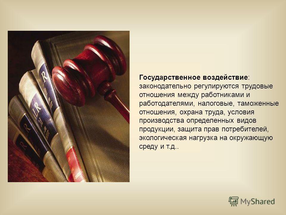 Государственное воздействие: законодательно регулируются трудовые отношения между работниками и работодателями, налоговые, таможенные отношения, охрана труда, условия производства определенных видов продукции, защита прав потребителей, экологическая