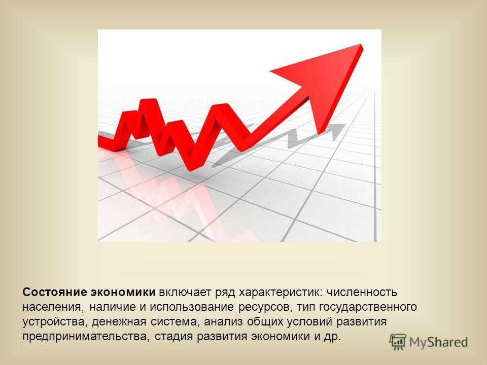 Состояние экономики включает ряд характеристик: численность населения, наличие и использование ресурсов, тип государственного устройства, денежная система, анализ общих условий развития предпринимательства, стадия развития экономики и др.