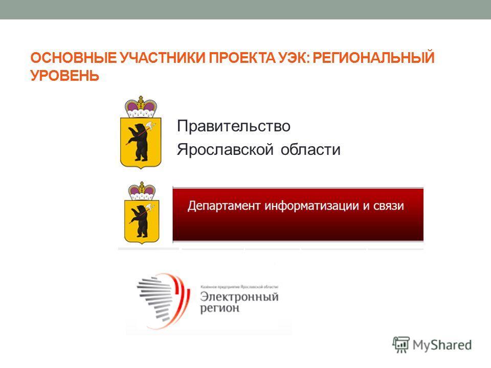 ОСНОВНЫЕ УЧАСТНИКИ ПРОЕКТА УЭК: РЕГИОНАЛЬНЫЙ УРОВЕНЬ Правительство Ярославской области