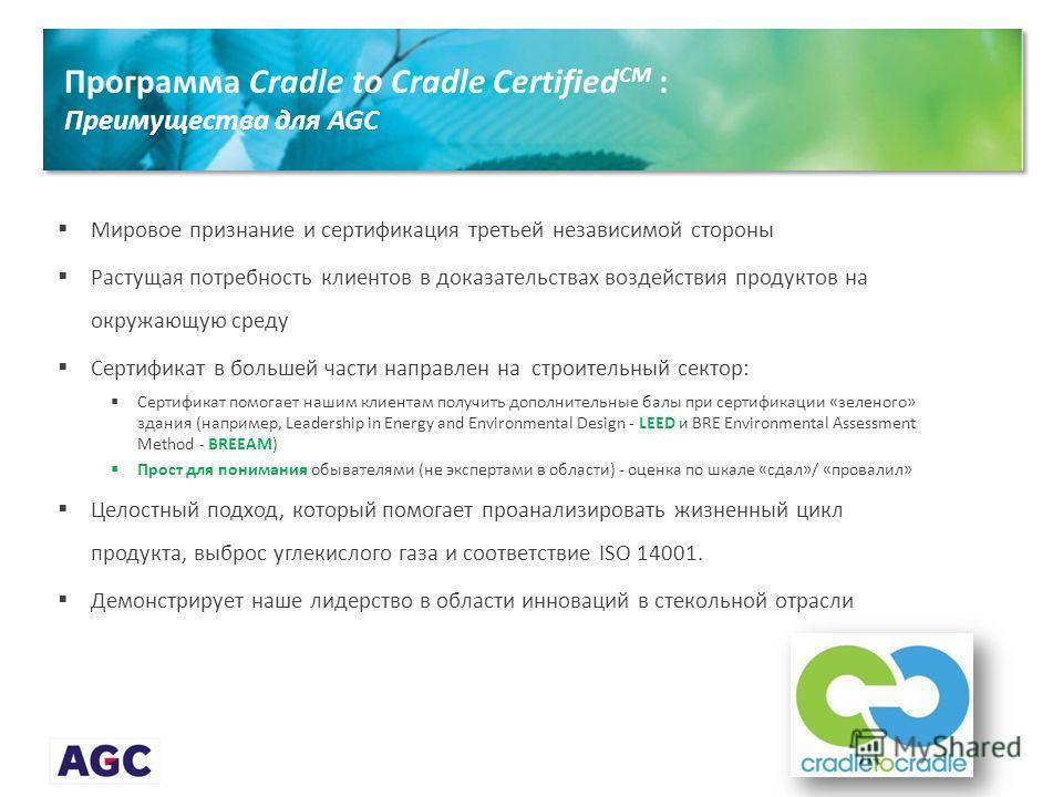 Программа Cradle to Cradle Certified CM : Преимущества для AGC Мировое признание и сертификация третьей независимой стороны Растущая потребность клиентов в доказательствах воздействия продуктов на окружающую среду Сертификат в большей части направлен